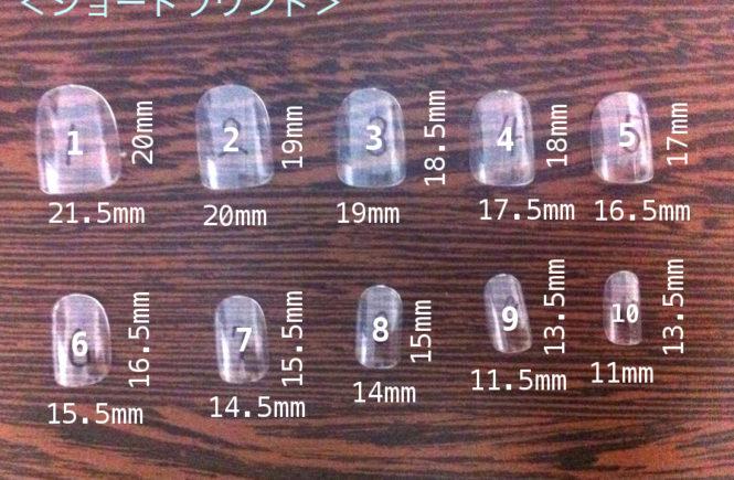 ネイルチップ 測り方 ショートラウンドのサイズ