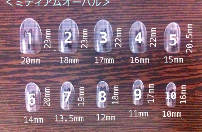 ネイルチップ 測り方 ミディアムオーバル