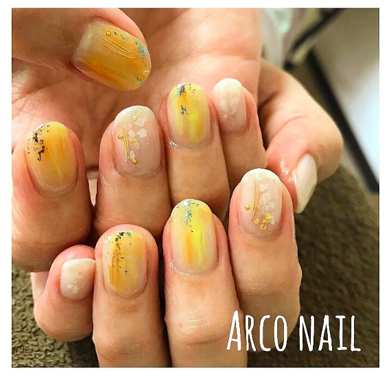 yellow nail design 2017-2