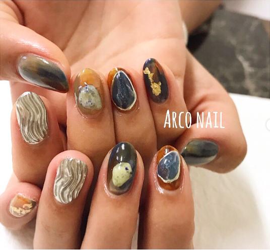 ミラーネイル 大理石ネイル 人気デザイン 福岡天神arco nail2017-10-09 15-43-02