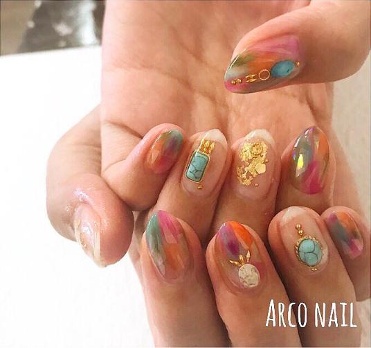 クリア オーロラ ビジュー ネイルデザイン 福岡天神 arco nail 2017-11-04 22-29-29