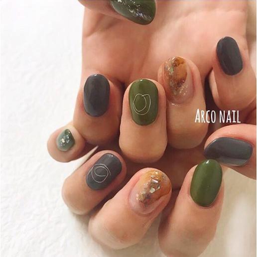 秋 カーキ 天然石 ワイヤー グリーン 福岡天神arco nail Instagram写真と動画 2017,11