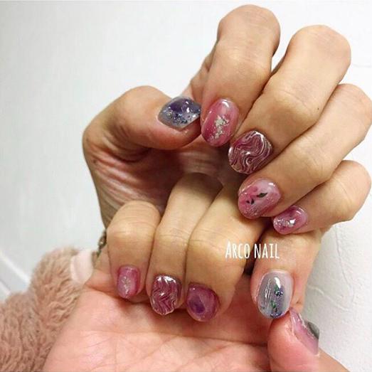 成人式ネイル 冬 2018 うねうねミラー ピンク キラキラ 福岡天神arco nail 2017-12-14 17-04-12