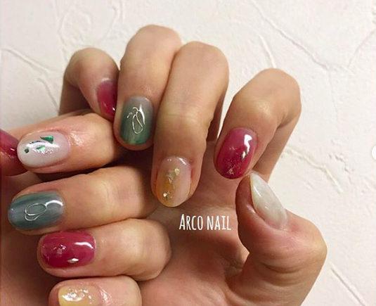 タイダイネイル 冬 2018 福岡天神 arco nail ピンク ワイヤー グレー シェル カラフル 2017-12-15 10-38-51