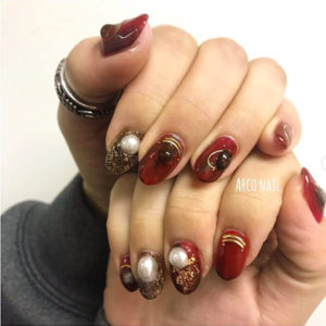 パールネイル 冬 2018 デザイン 福岡天神 arco nail ボルドー ゴールド ビジュー 2017-12-16 23-45-06