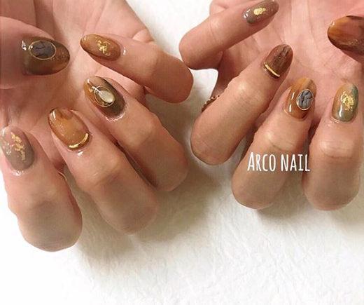 秋 ベージュ ブラウン ウェディング 天然石 ネイルデザイン 福岡天神arco nail 2017-11-19 22-05-04