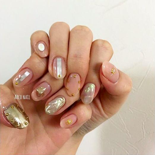 ネイル シアーベージュ 夏 2018 デザイン ミラー ピンク