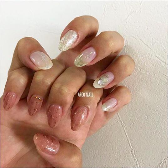 ネイル シアーピンク 夏 2018 デザイン ホワイト