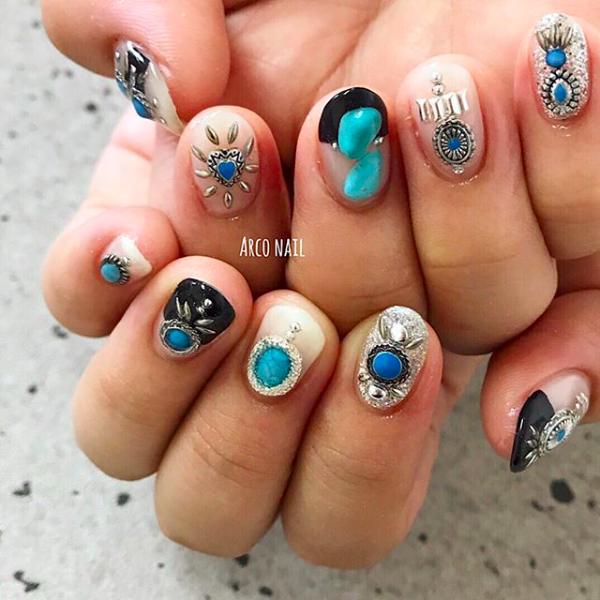 ネイルデザイン 夏 2018 ターコイズ ブルー ホワイト 福岡天神 arco nail
