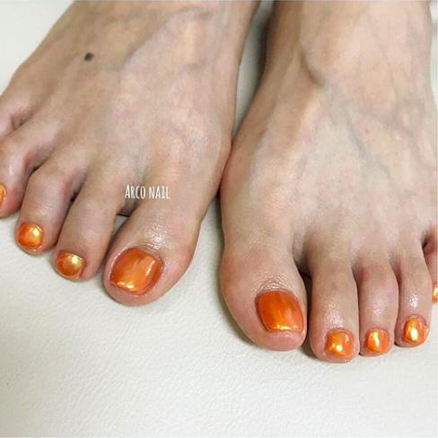 ネイルデザイン 夏 フット 2018 オレンジ オーロラヴェール