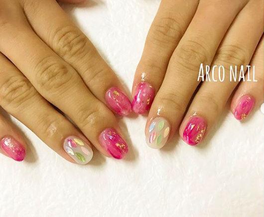 ピンク オーロラ ネイルデザイン 福岡天神arco nail 2017-11-11 22-23-50