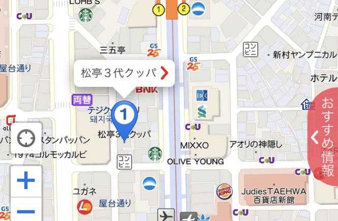 釜山グルメ ブログ テジクッパ 西面 松亭3代クッパ 地図