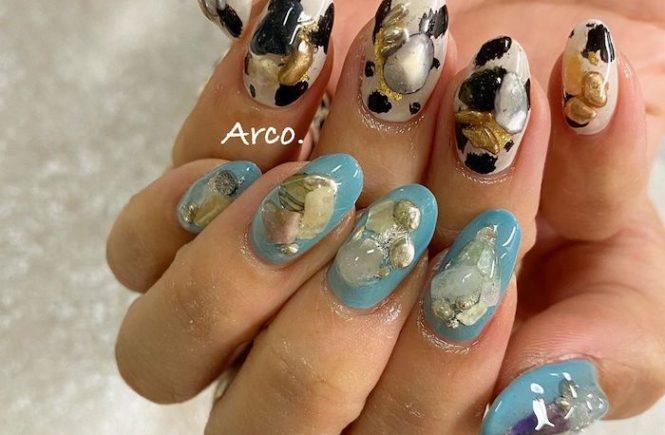 ネイルデザイン 青 ブルー 天然石 アニマル 2020 夏