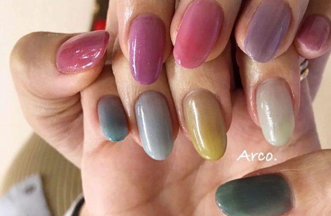 ネイルデザイン ピンク カラフル パステル 福岡天神arco nail