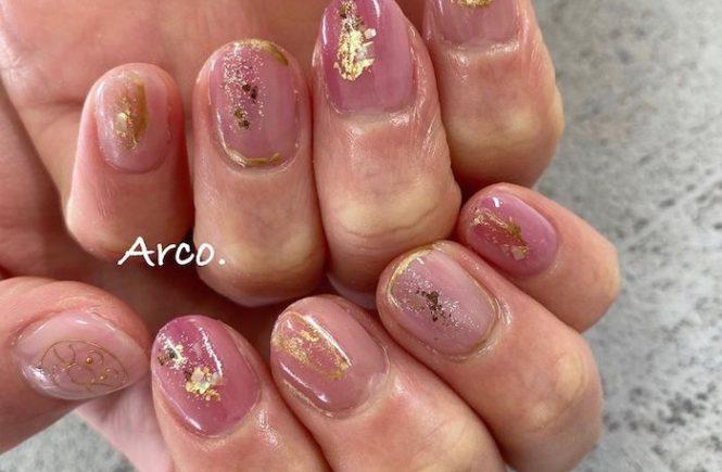 ネイルデザイン ピンク パープル カシス ラメ 福岡天神arco nail