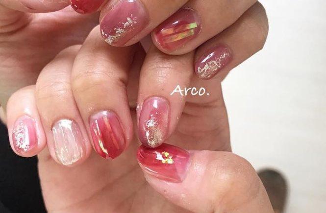 ネイルデザイン ピンク レッド オーロラ 福岡天神arco nail