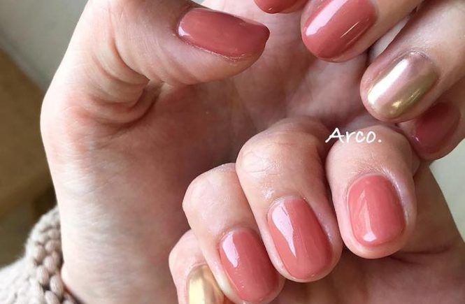 ネイルデザイン ピンク テラコッタ ミラー福岡天神arco nail