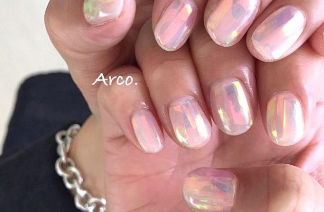 ネイルデザイン ピンク オーロラ 福岡天神arco nail