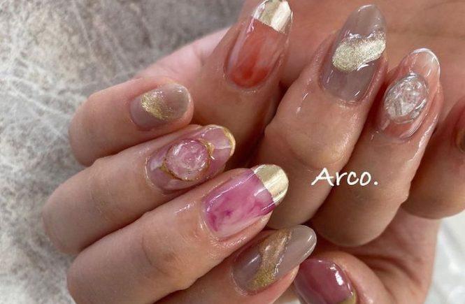 ネイルデザイン ピンク ベージュ ミラー 天然石 福岡天神arco nail