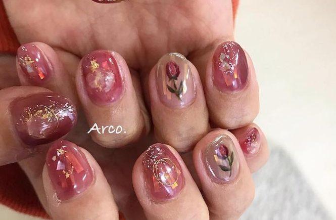 ネイルデザイン ピンク オーロラ 一輪挿し 福岡天神arco nail