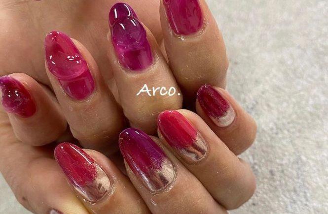 ネイルデザイン ピンク ミラー arco nail